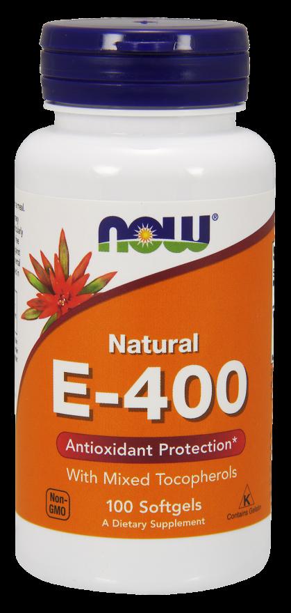 Image of Vitamin E-400 IU (100 Softgels) - Now Foods 0733739008923