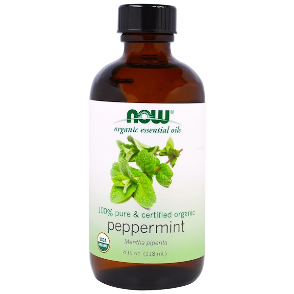 Image of Organic Essential Oils- Peppermint (118 ml) - Now Foods 0733739074577