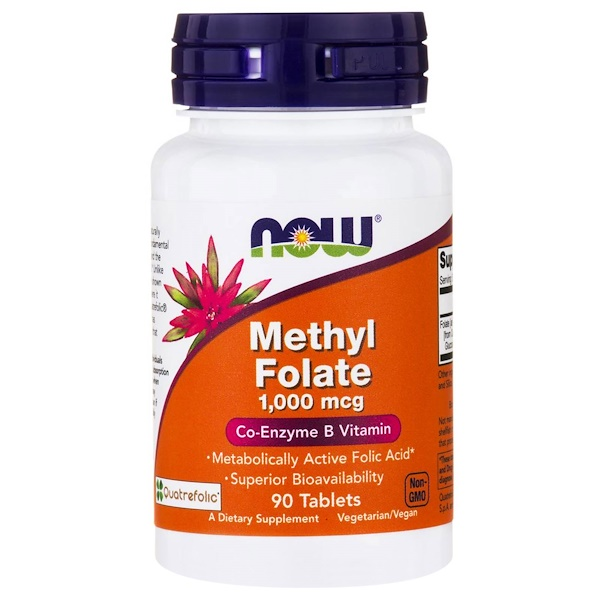 Image of Methyl Folate- 1.000 mcg (90 tablets) - Now Foods 0733739004918