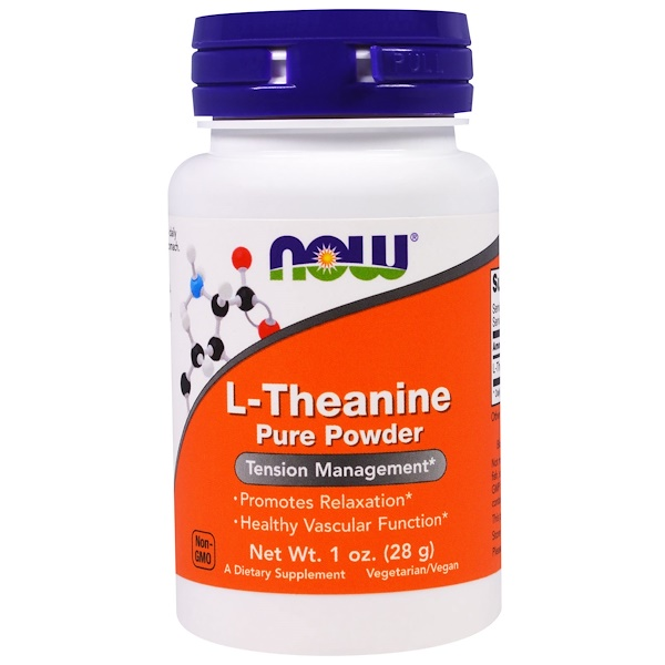 Image of L-Theanine- Pure Powder (28 gram) - Now Foods 0733739002624