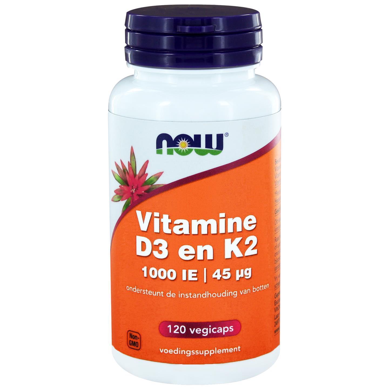 Image of Now Foods, Vitamina D3 & K2, 1.000 IU / 45 mcg, 120 Veggie Caps 0733739145567