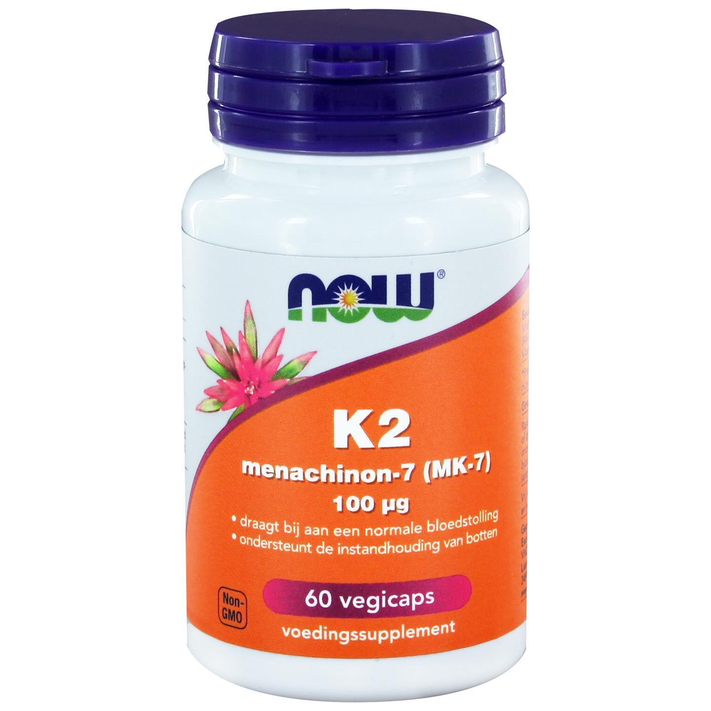 Image of Vitamina K2 Menachinon 100 mcg (60 caps veggie) - Now Foods 0733739114440
