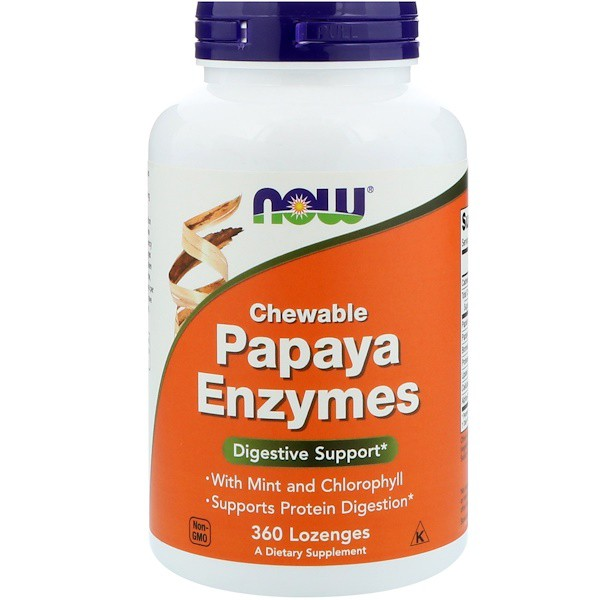 Image of Papaya Enzymes Chewable (360 Lozenges) - Now Foods 0733739029720