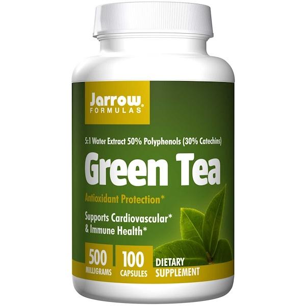 Image of Green Tea 500 mg (100 Vegetarian Capsules) - Jarrow Formulas 0790011170075