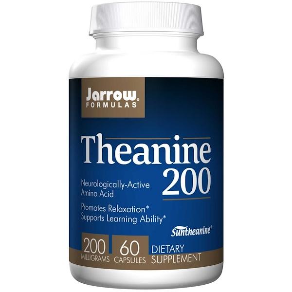 Image of Theanine 200 mg (60 Vegetarian Capsules) - Jarrow Formulas 0790011150572