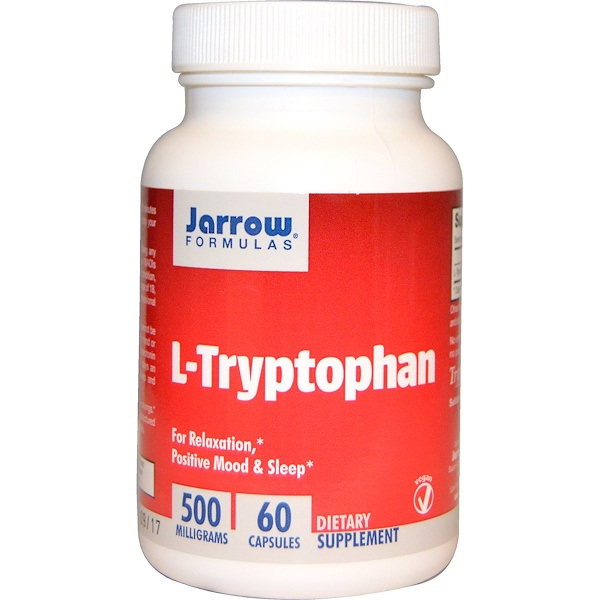 Image of L-Tryptophan 500 mg (60 Vegetarian Capsules) - Jarrow Formulas 0790011150565