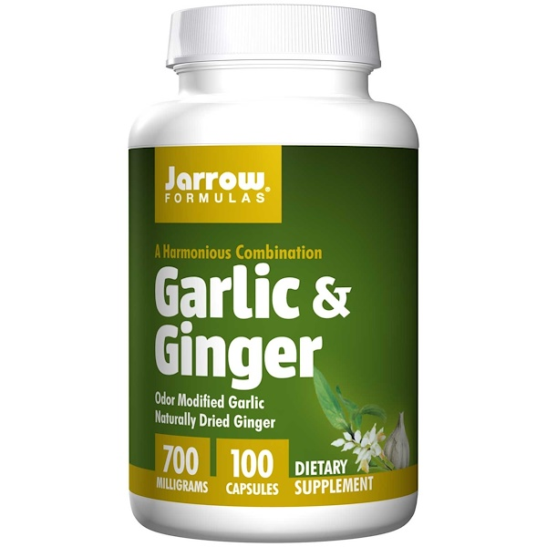 Image of Garlic & Ginger 700 mg (100 Capsules) - Jarrow Formulas 0790011140122