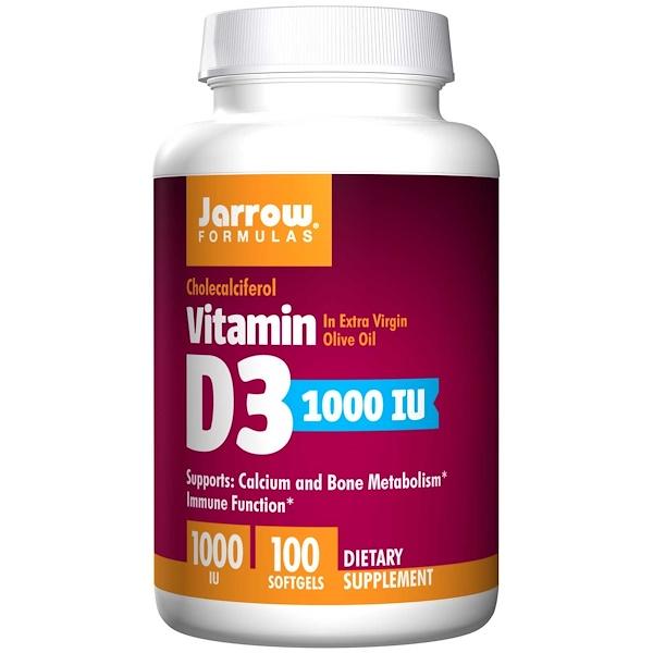 Image of Vitamin D3 1000 IU (100 softgels) - Jarrow Formulas 0790011300038