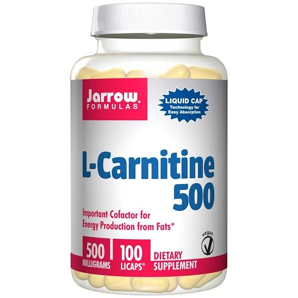 Image of L-Carnitine 500 mg (100 Vegetarian Capsules) - Jarrow Formulas 0790011020141