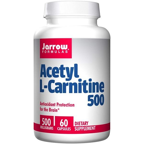 Image of Acetyl L-Carnitine 500 mg (60 Vegetarian Capsules) - Jarrow Formulas 0790011150374