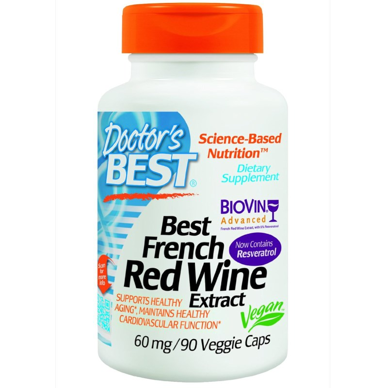 Image of Best French Red Wine Extract 60 mg (90 Veggie Caps) - Doctor's Best 0753950000582