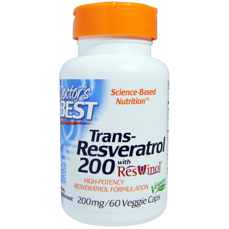 Image of Trans-Resveratrol 200 mg (60 Veggie Caps) - Doctor's Best 0753950002111
