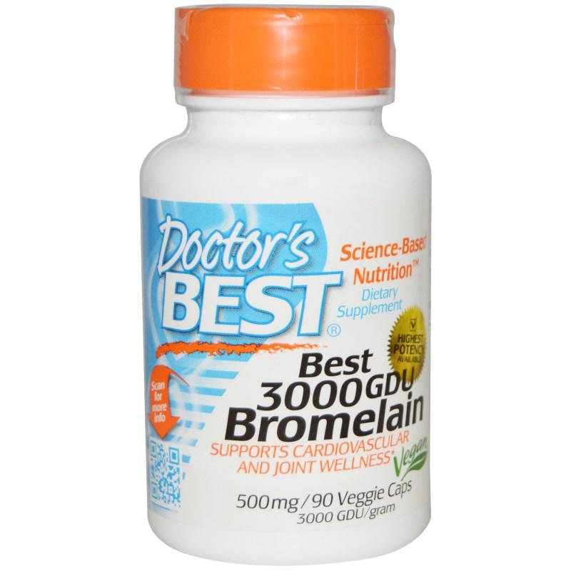 Image of Best 3000 GDU Bromelain 500 mg (90 Veggie Caps) - Doctor's Best 0753950002159