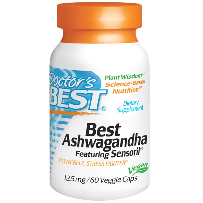 Image of Best Ashwagandha Featuring Sensoril 125 mg (60 Veggie Caps) - Doctor's Best 0753950003040