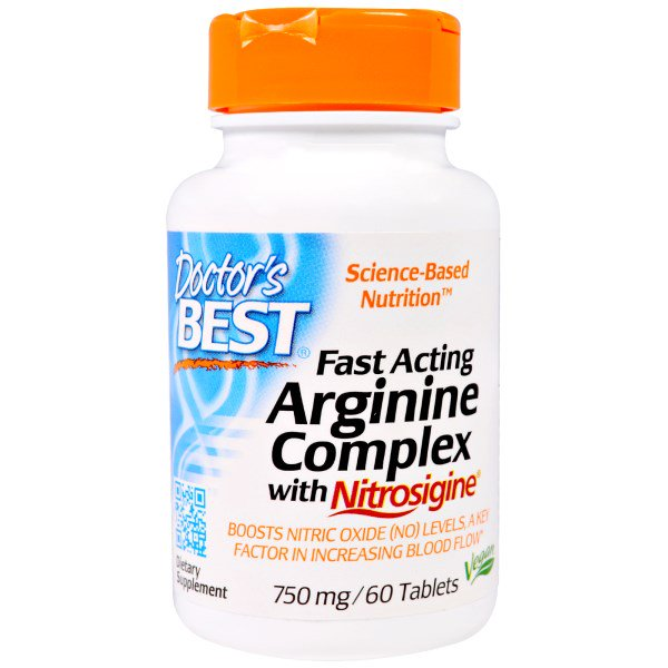Image of Fast Acting Arginine Complex with Nitrosigine, 750 mg (60 Tablets) - Doctor's Best 0753950004061