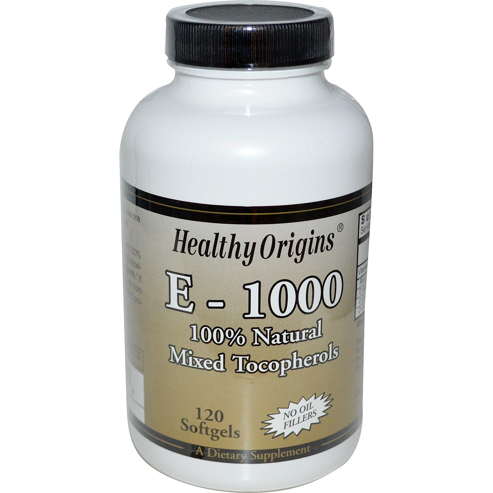 Image of Healthy Origins, E-1000, 120 Softgels 0603573151508