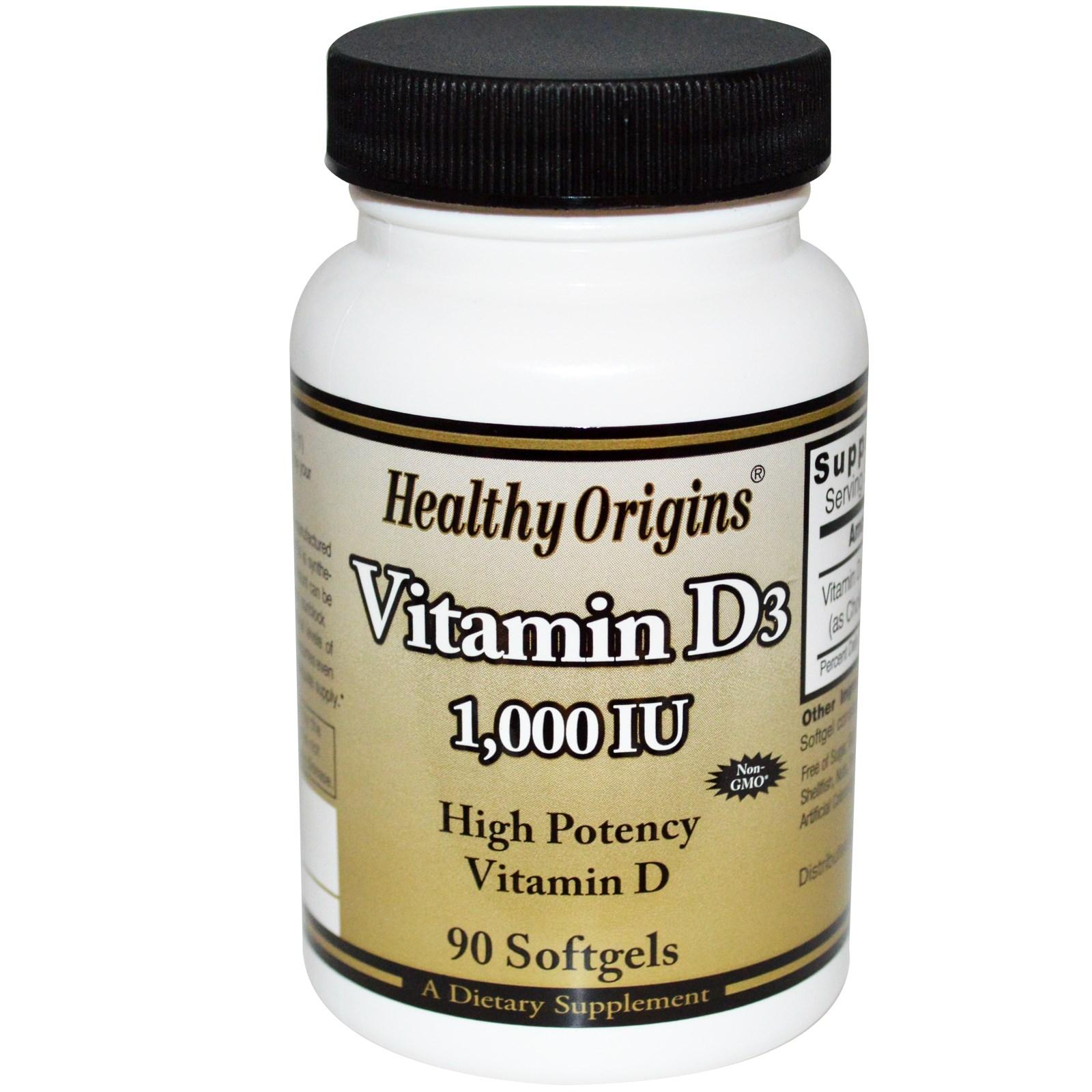 Image of Healthy Origins, Vitamin D3, 1000 IU, 90 Softgels 0603573153137
