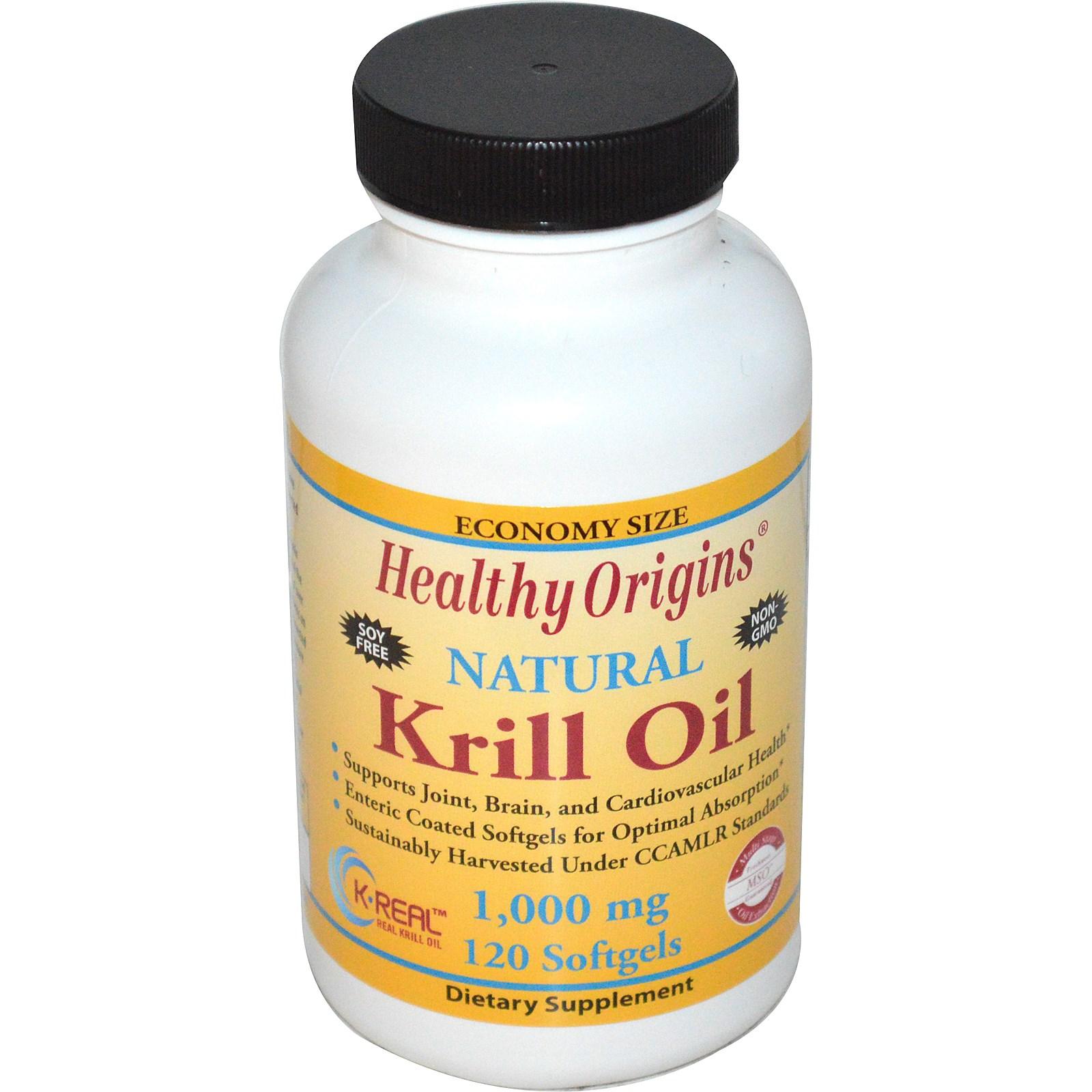 Image of Healthy Origins, Krill Oil, Natural Vanilla Flavor, 1,000 mg, 120 Softgels 0603573814564