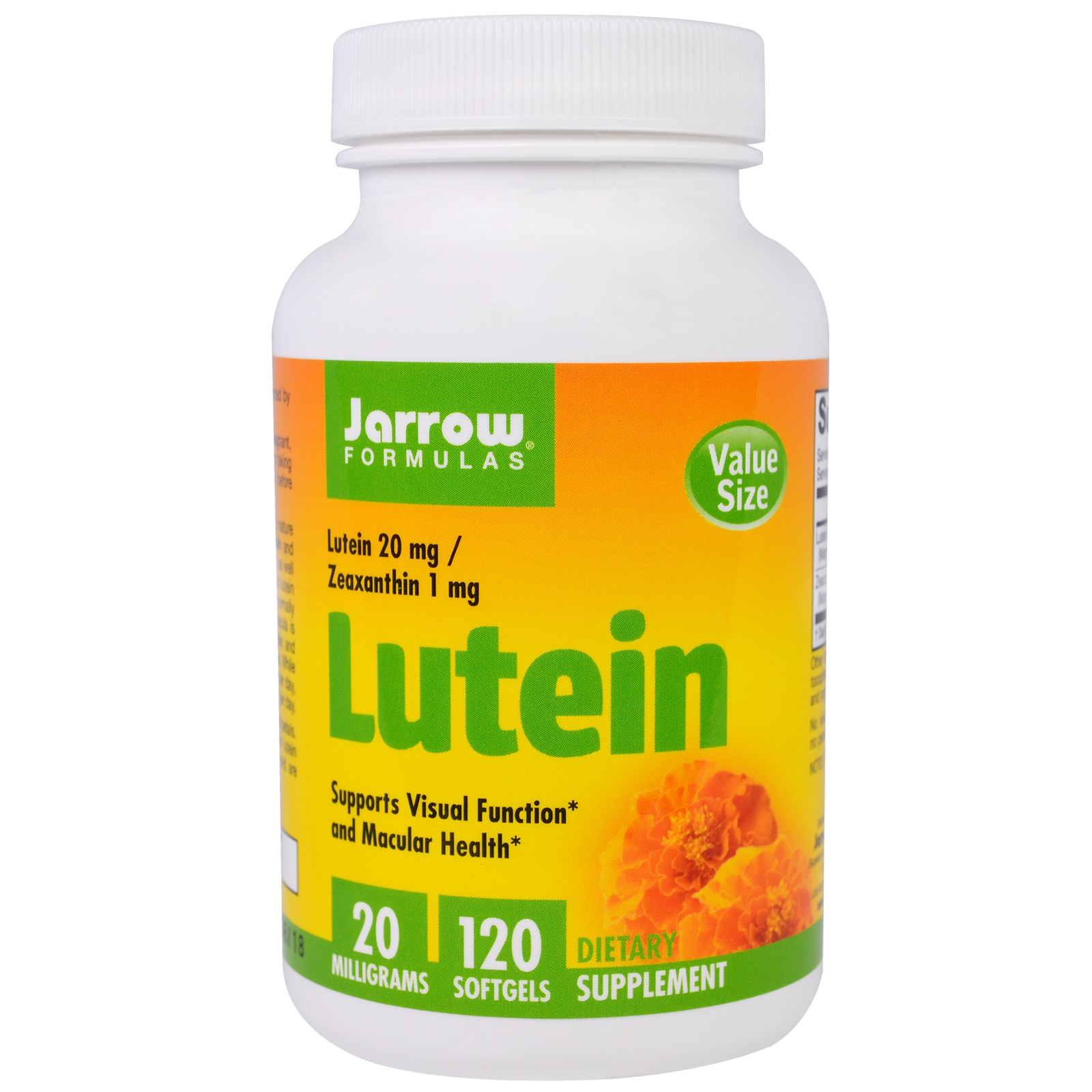 Image of Lutein 20 mg (120 Softgels) - Jarrow Formulas 0790011120353