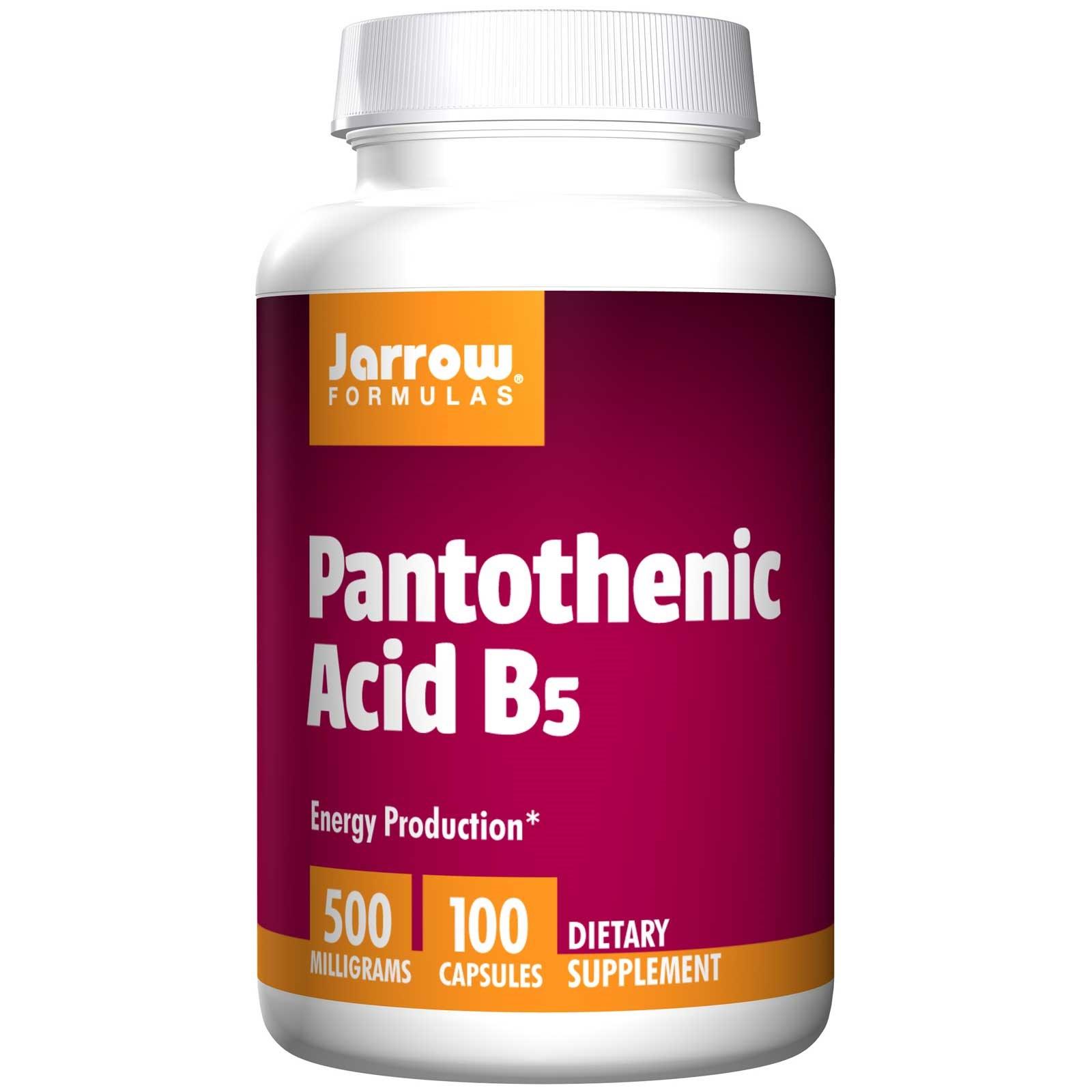 Image of Pantothenic Acid B5 500 mg (100 Capsules) - Jarrow Formulas 0790011180104