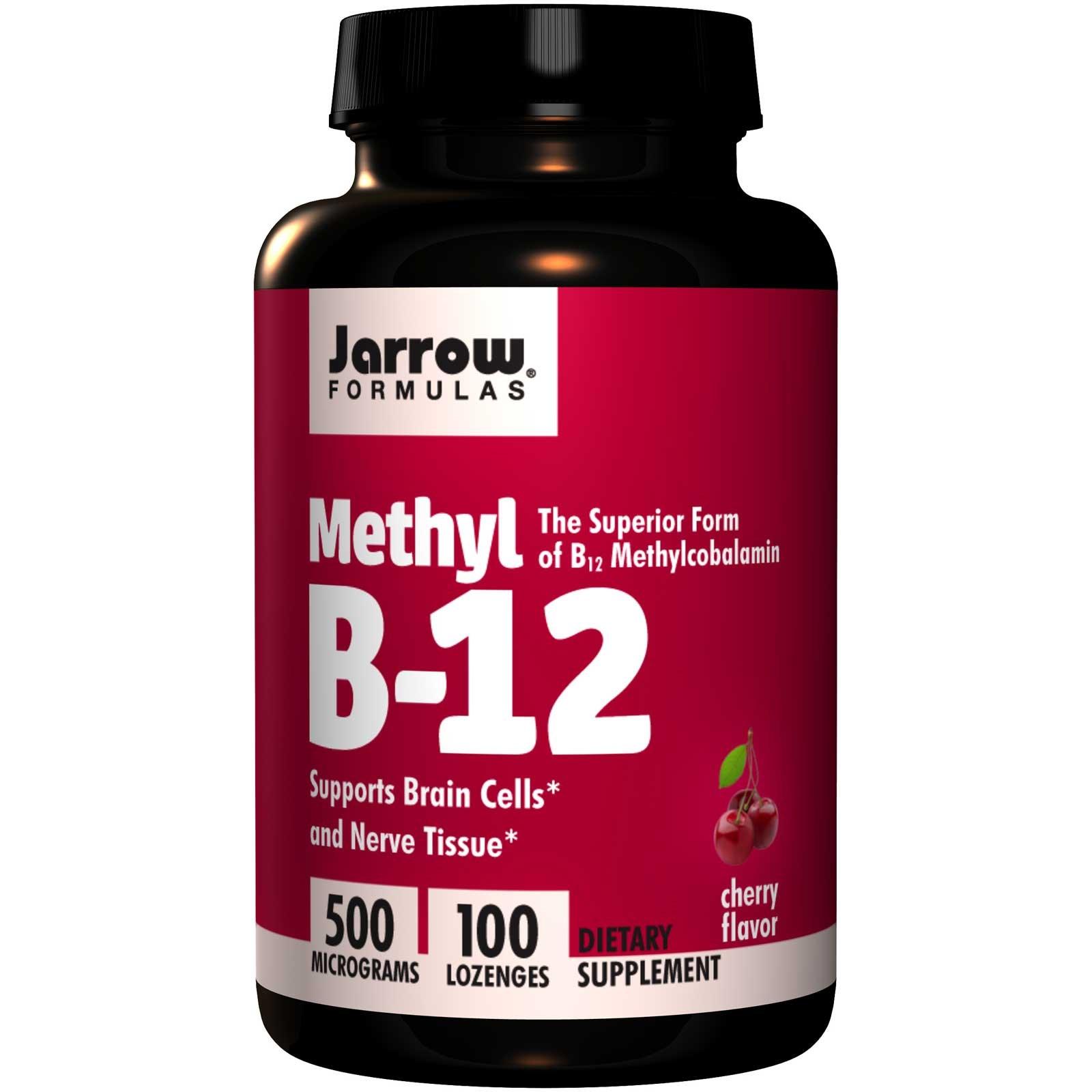 Image of Methyl B-12 Cherry Flavor 500 mcg (100 Lozenges) - Jarrow Formulas 0790011180159