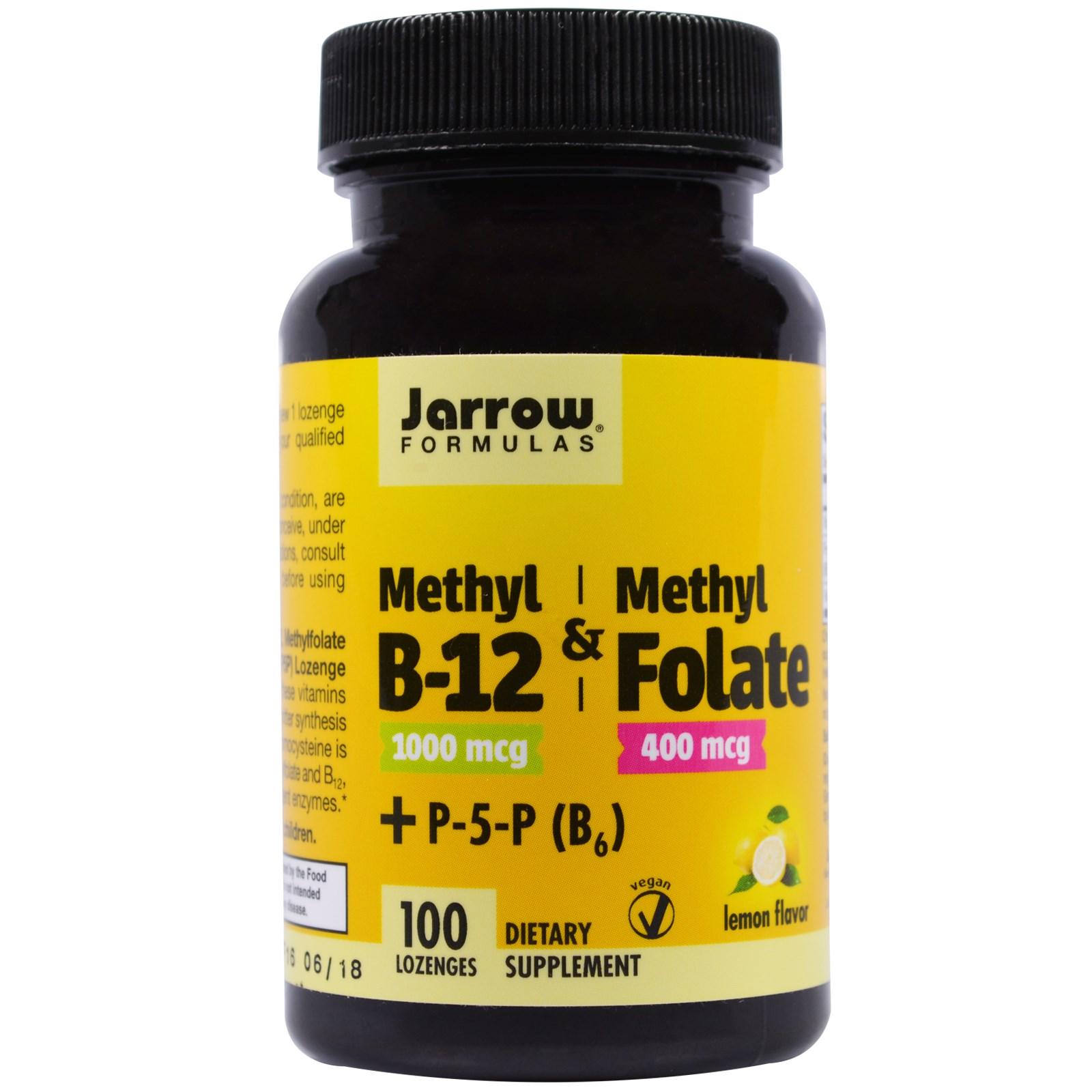 Image of Metil B-12 & metile folato sapore di limone 1000 mcg / 400 mcg (100 pastiglie) - Jarrow Formulas 0790011180180