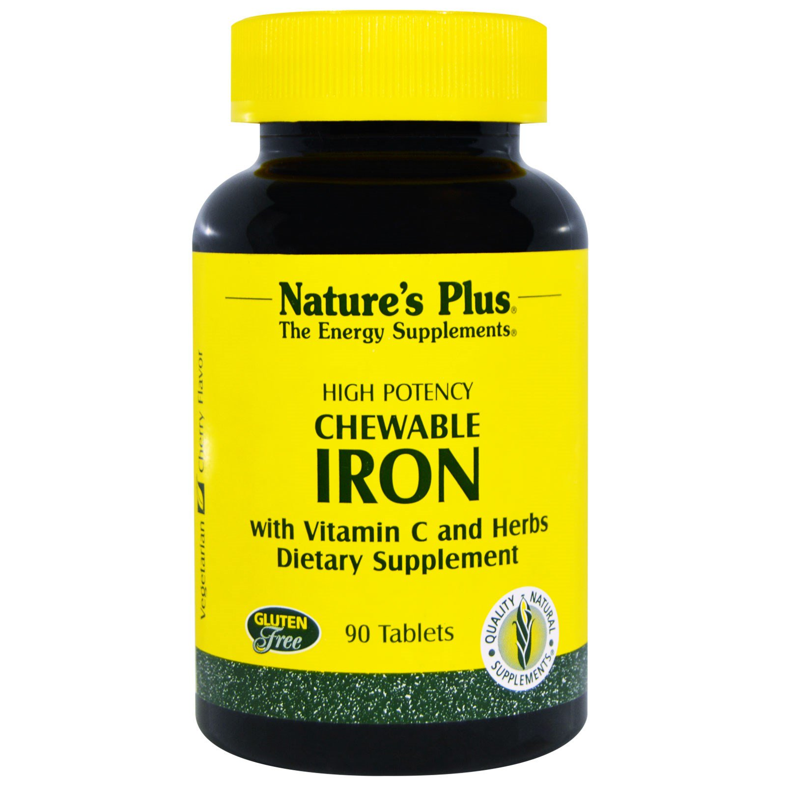 Image of Chewable Iron, Cherry Flavor (90 Tablets) - Nature's Plus 0097467034211