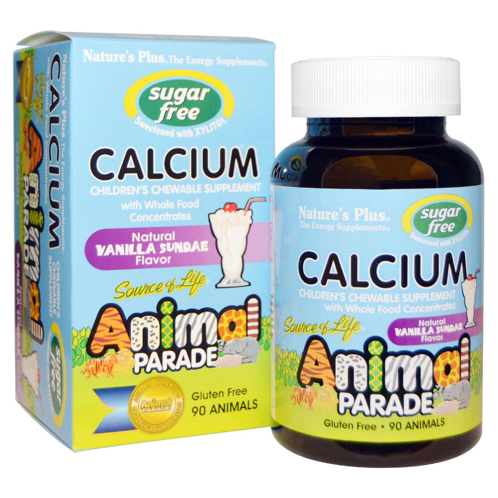 Image of Calcium, Sugar Free, Natural Vanilla Sundae Flavor (90 Animals) - Nature's Plus 0097467299214