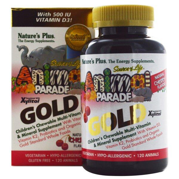 Image of Children's Chewable Multi-Vitamin & Mineral Supplement, Natural Cherry Flavor (120 Animals) - Nature's Plus 0097467299320