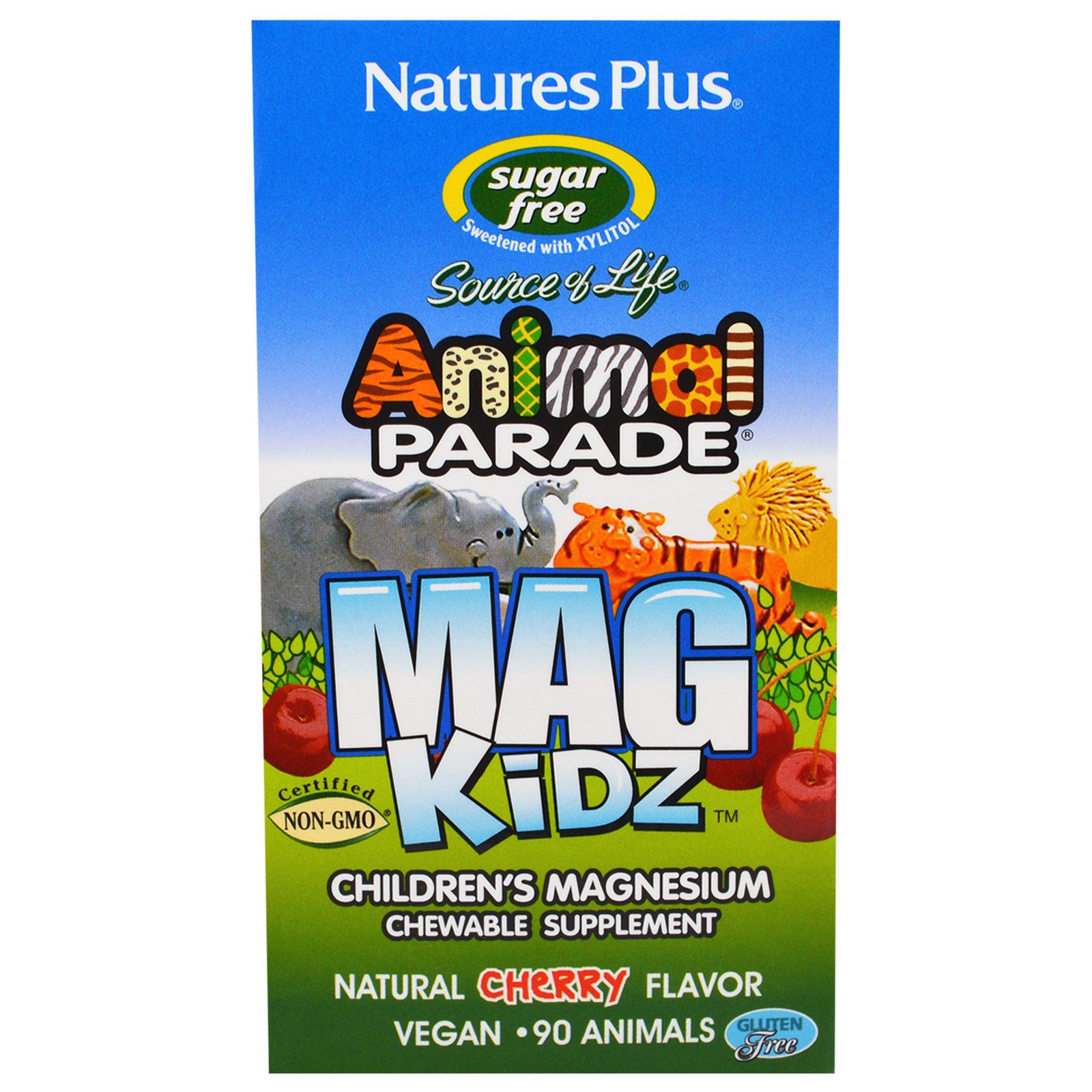 Image of MagKidz, Children's Magnesium, Natural Cherry Flavor (90 Animals) - Nature's Plus 0097467299429