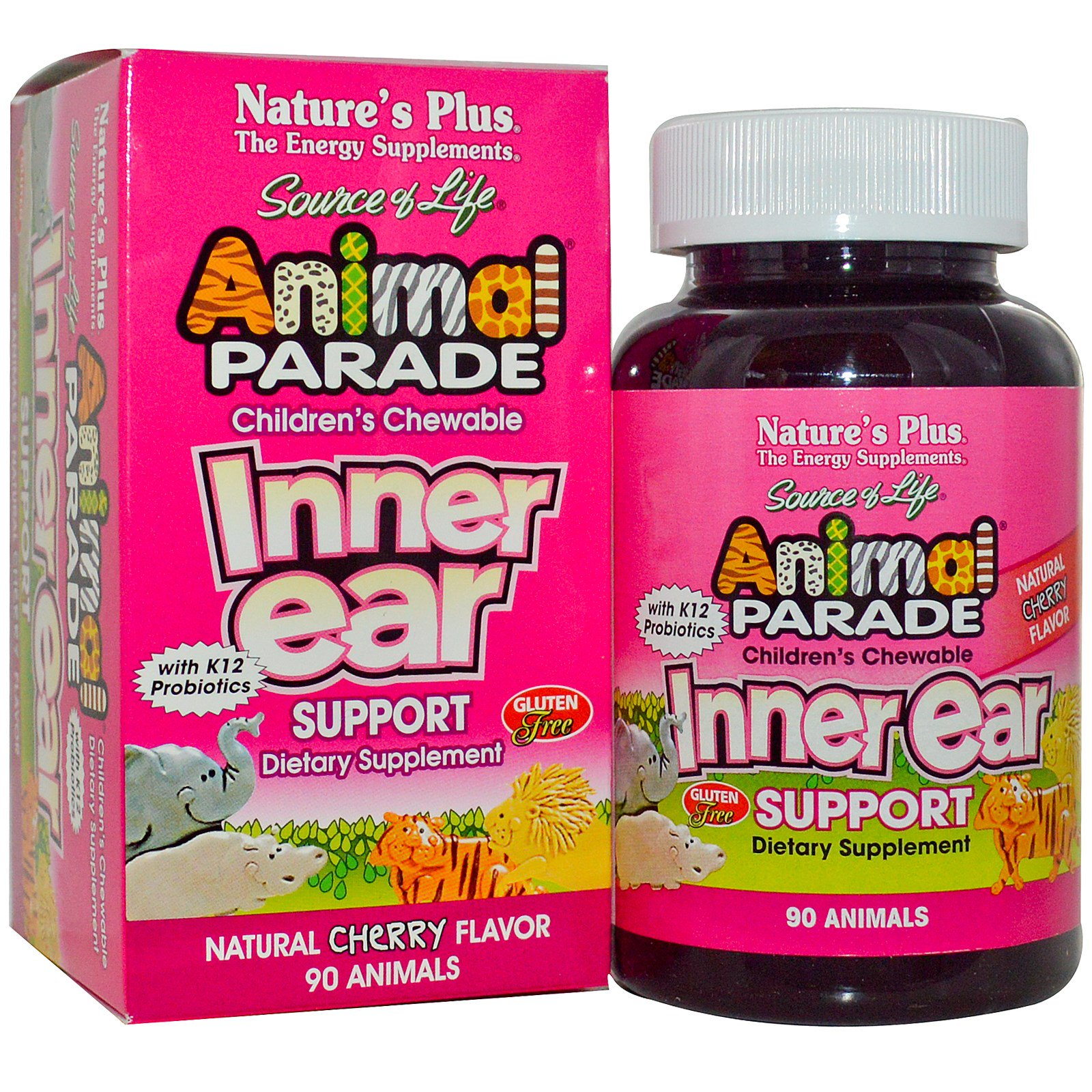Image of Children's Chewable Inner Ear Support, Natural Cherry Flavor (90 Animals) - Nature's Plus 0097467299498