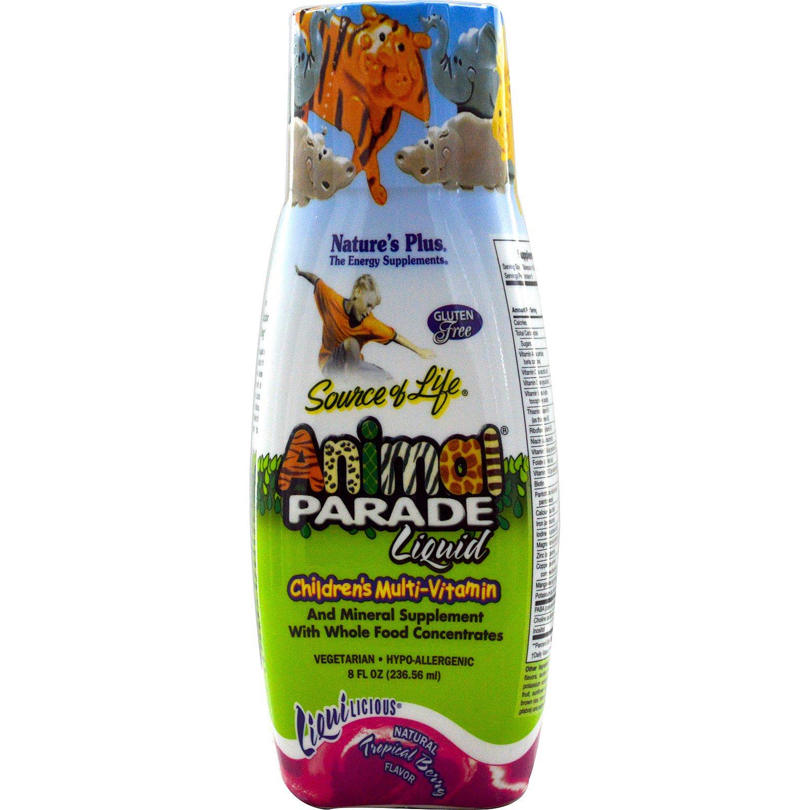Image of Liquid, Children's Multi-Vitamin, Natural Tropical Berry Flavor (236 ml) - Nature's Plus 0097467299542