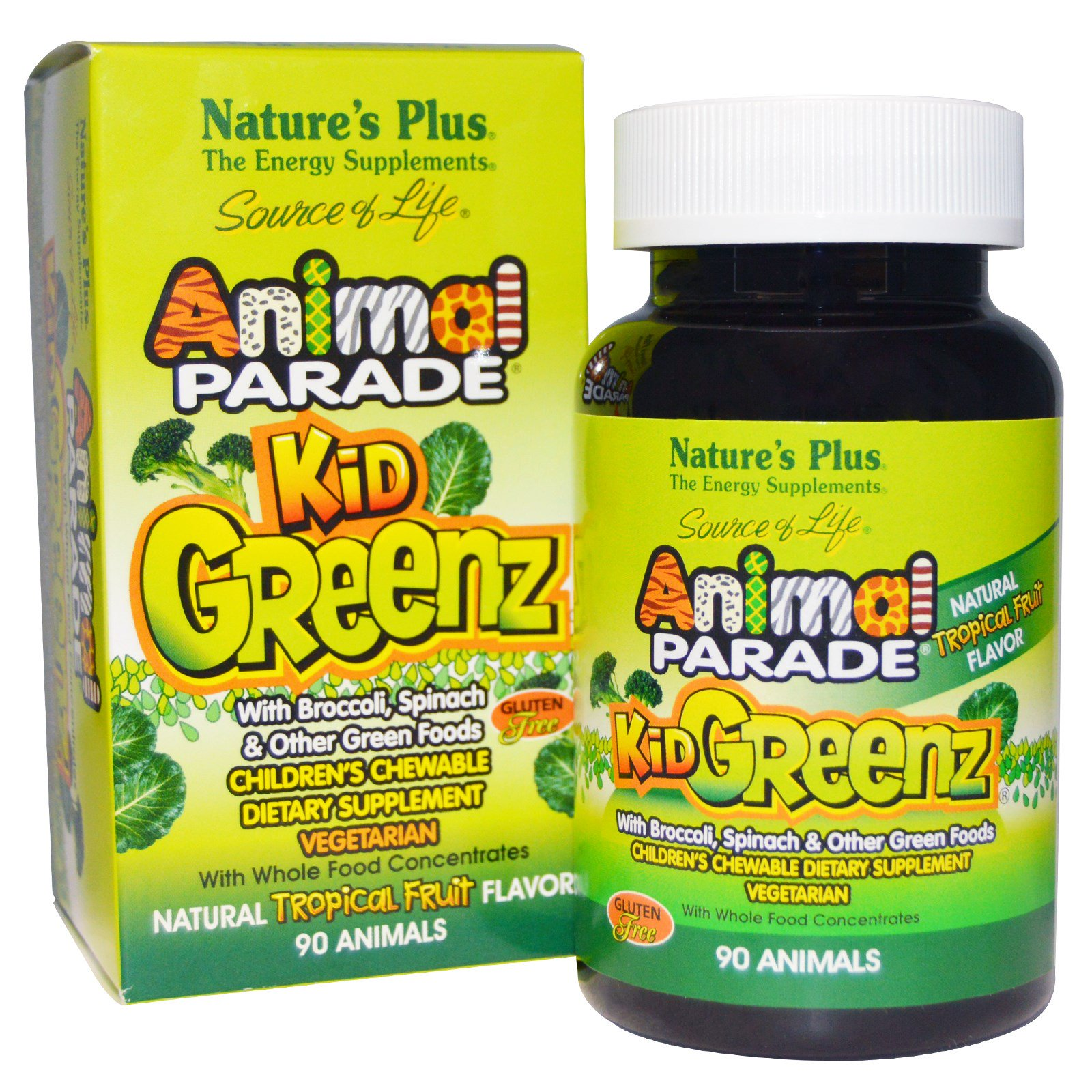 Image of Kid Greenz, Natural Tropical Fruit Flavor (90 Animals) - Nature's Plus 0097467299689