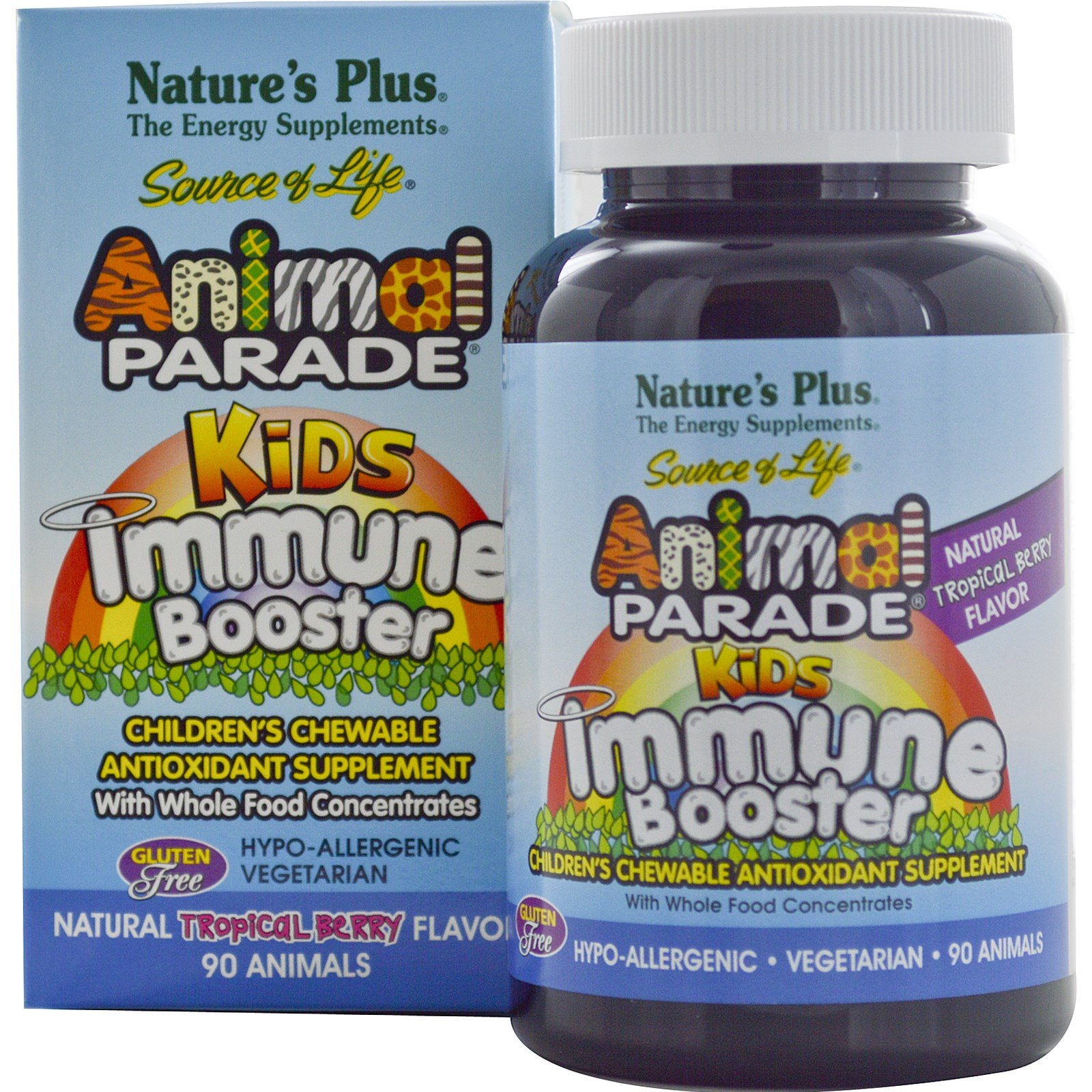 Image of Kids Immune Booster, Natural Tropical Berry Flavor (90 Animals) - Nature's Plus 0097467299788