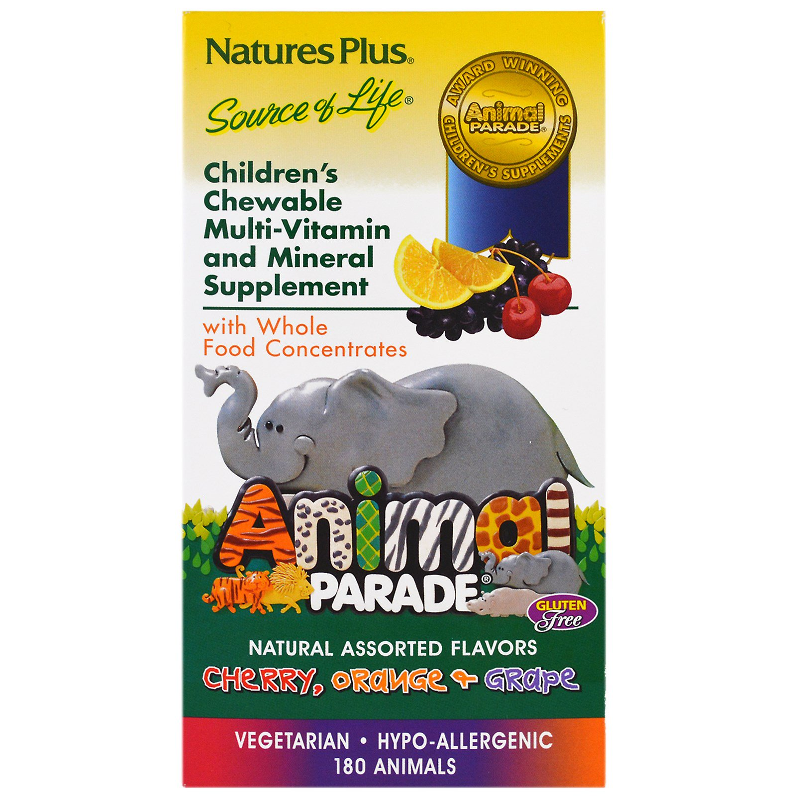 Image of Children's Chewable Multi-Vitamin & Mineral, Assorted Flavors (180 Animals) - Nature's Plus 0097467299825