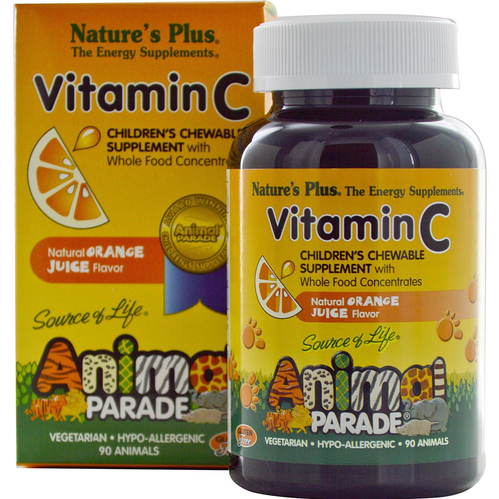 Image of Vitamin C, Children's Chewable Supplement, Natural Orange Juice Flavor (90 Animals) - Nature's Plus 0097467299986