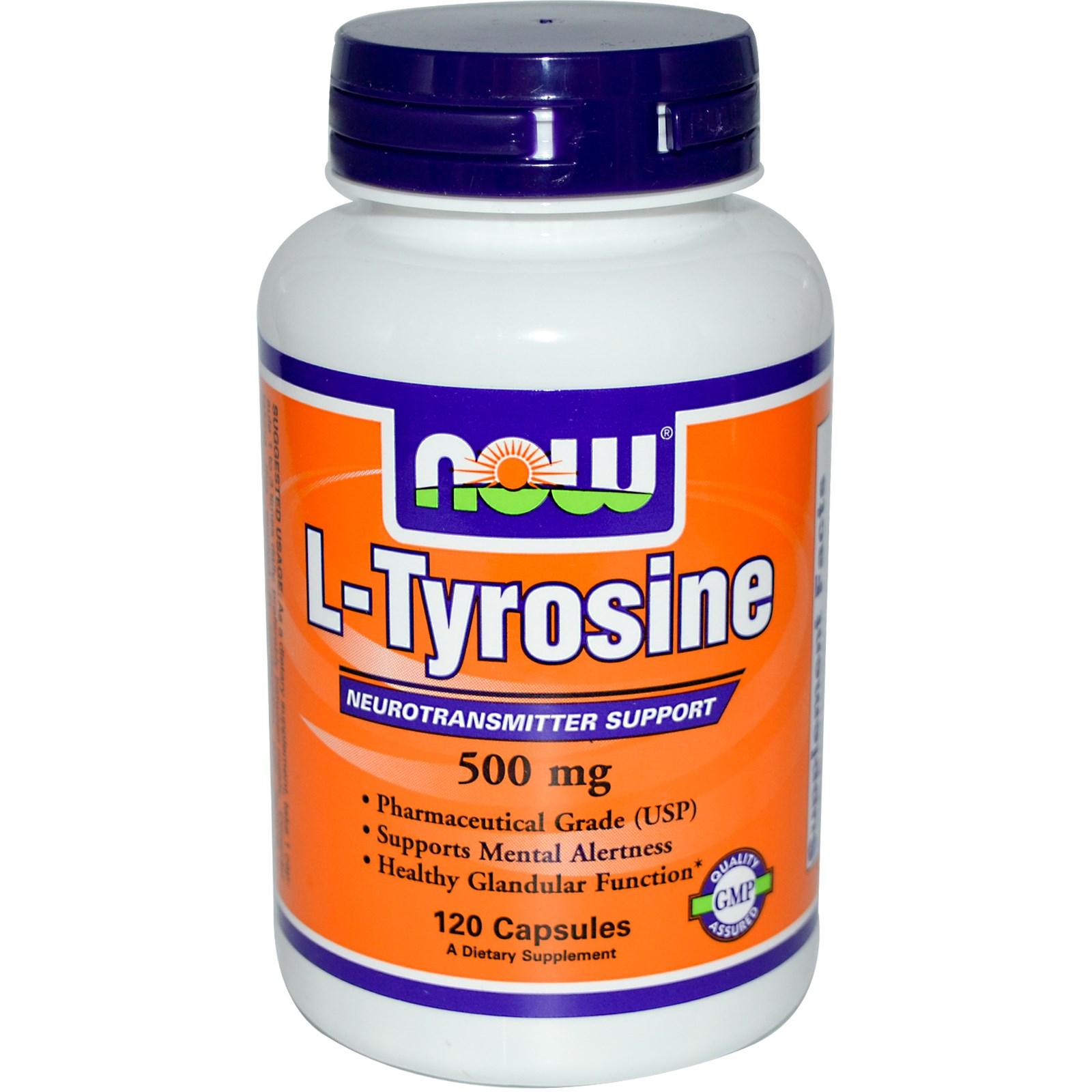 Image of Now Foods, L-Tyrosine, 500 mg, 120 Capsules 0733739001627