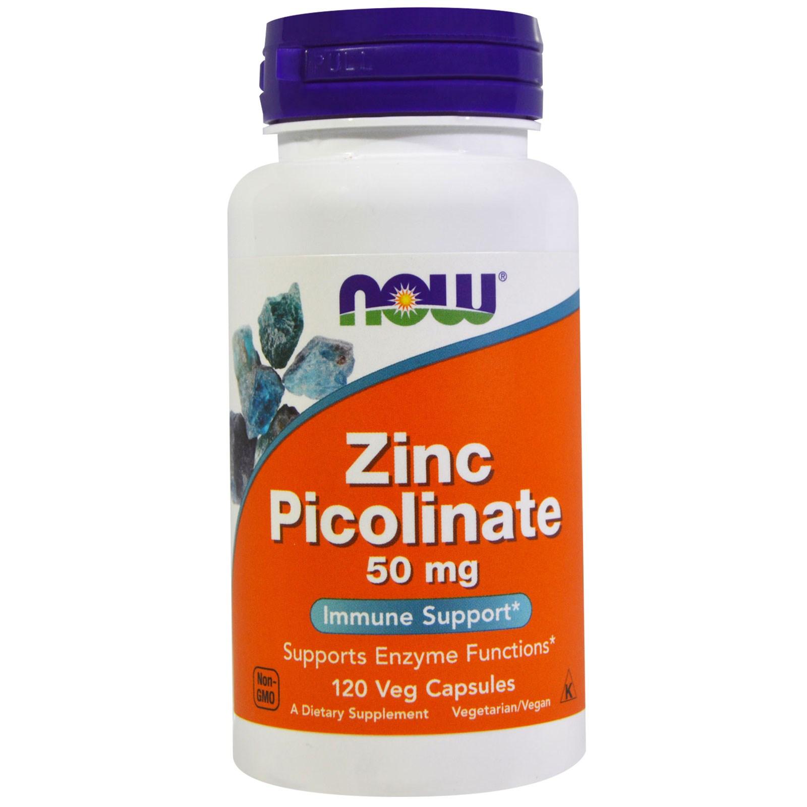 Image of Zinc Picolinate 50 mg (120 Veggie Capsules) - Now Foods 0733739015525