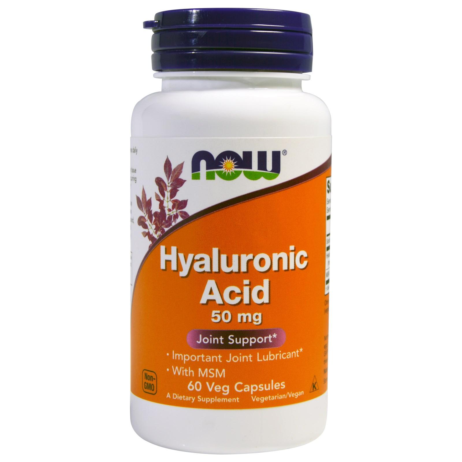 Image of Hyaluronic Acid 50 mg (60 Veggie Caps) - Now Foods 0733739031563