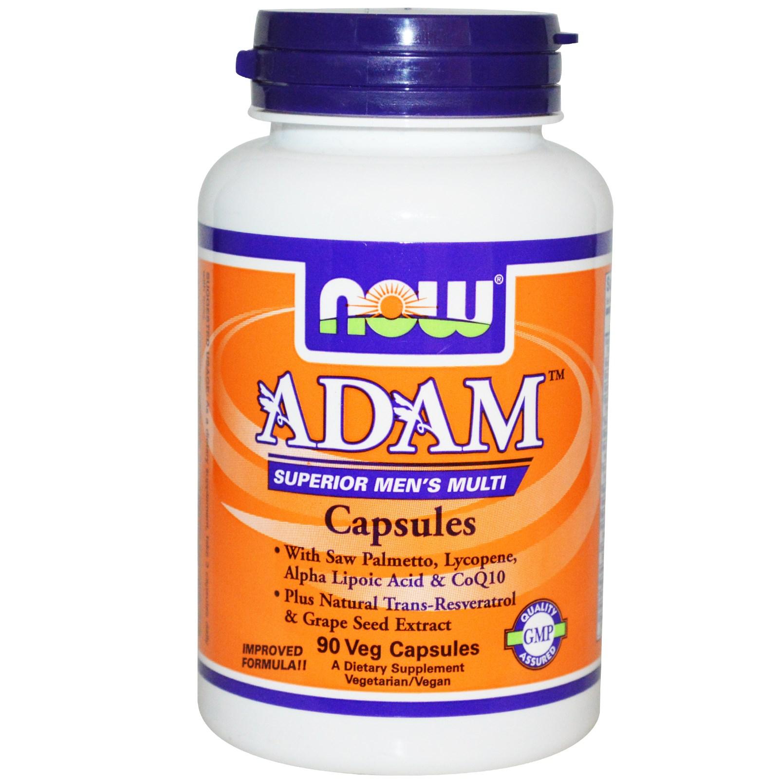 Image of Now Foods, Adam Superior Men's Multi, 90 Veg Caps 0733739038784