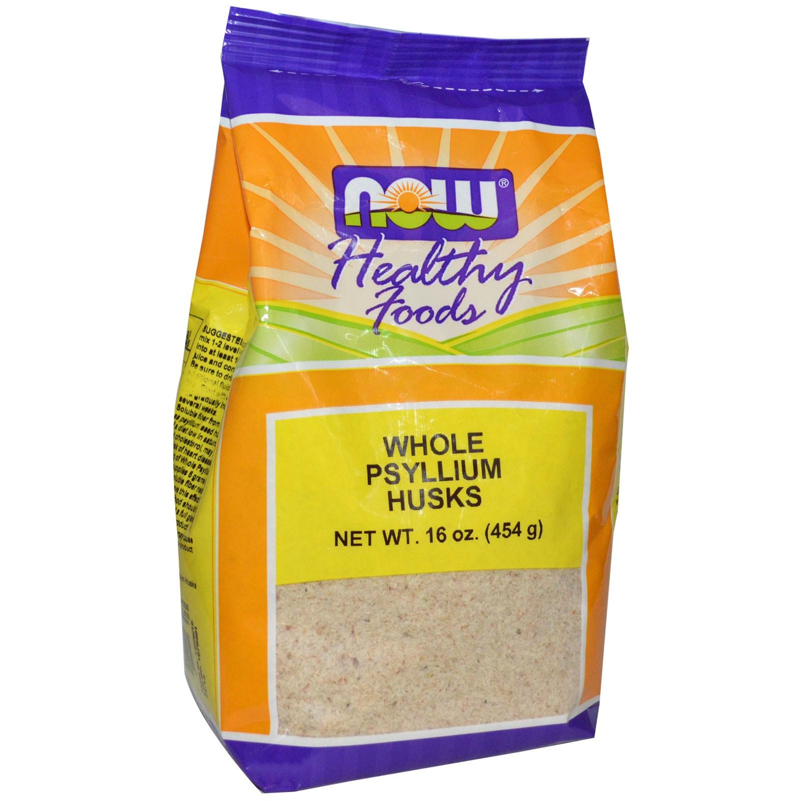 Image of Whole Psyllium Husks (454 gram) - Now Foods 0733739059819