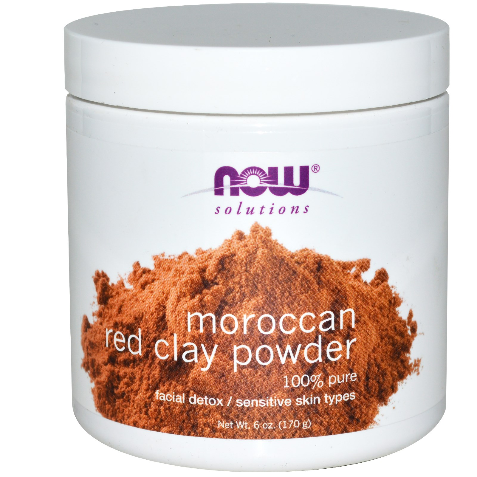 Image of Moroccan Red Clay Facial Detox Powder (170 gram) - Now Foods 0733739081902