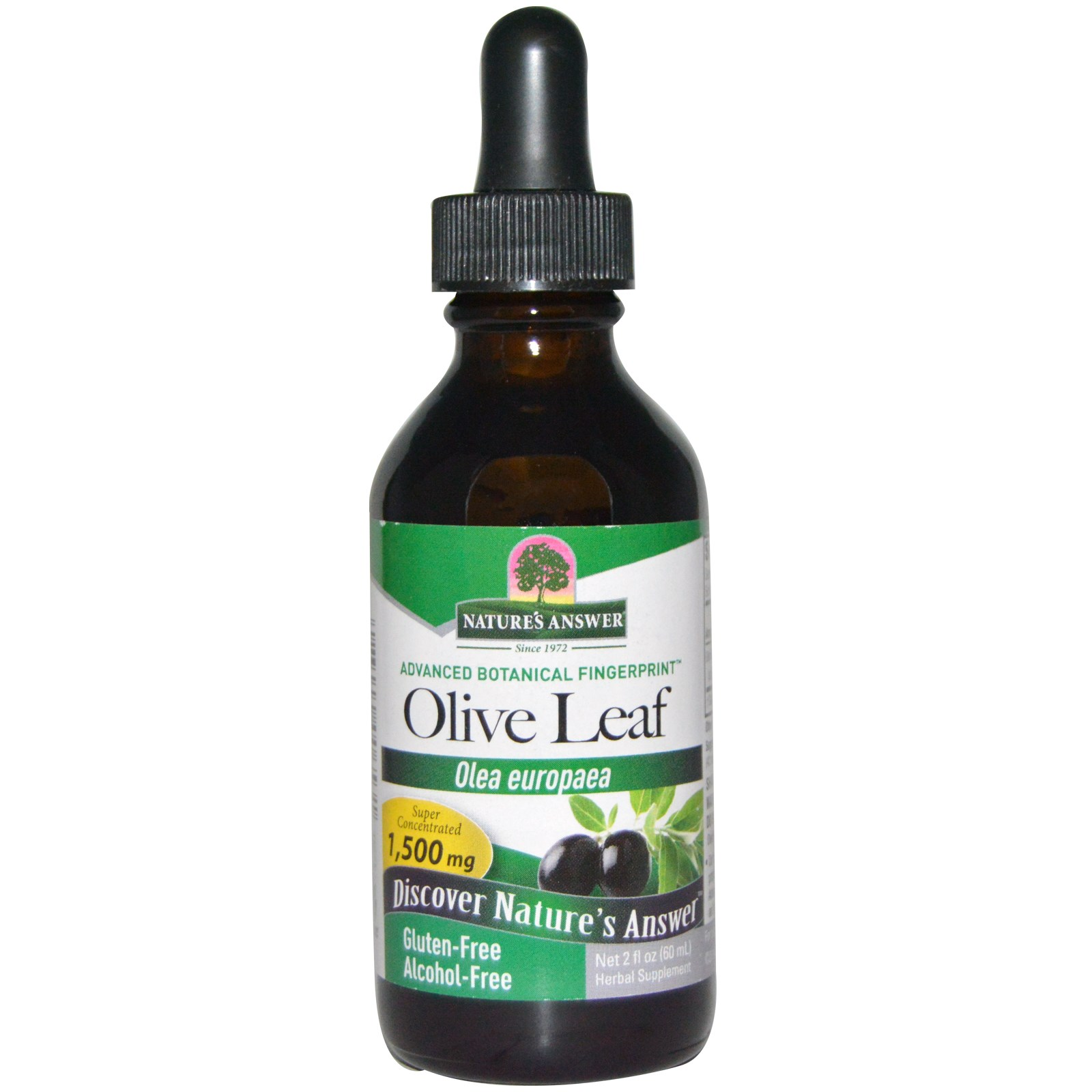 Image of Olive Leaf, Alcohol-Free, 1500 mg (60 ml) - Nature's Answer 0083000006531