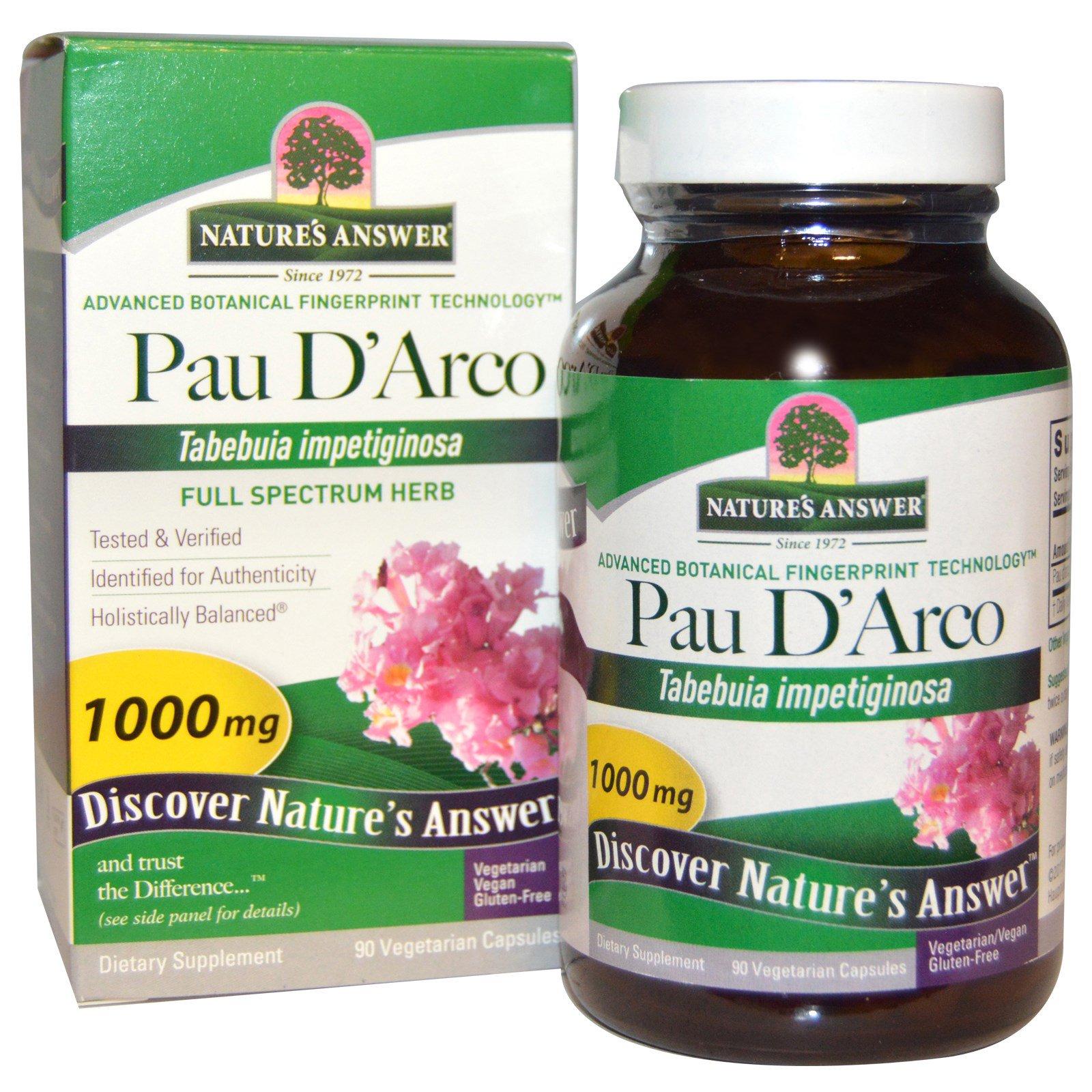 Image of Pau D'Arco, 1000 mg (90 Veggie Caps) - Nature's Answer 0083000163104