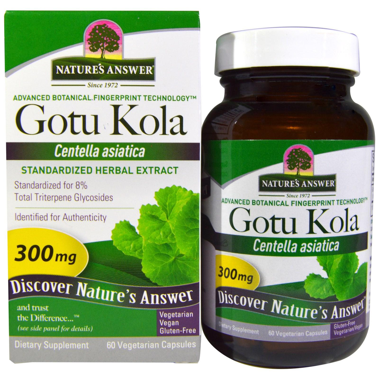 Image of Gotu Kola, Standardized Herbal Extract, 300 mg (60 Veggie Caps) - Nature's Answer 0083000163937