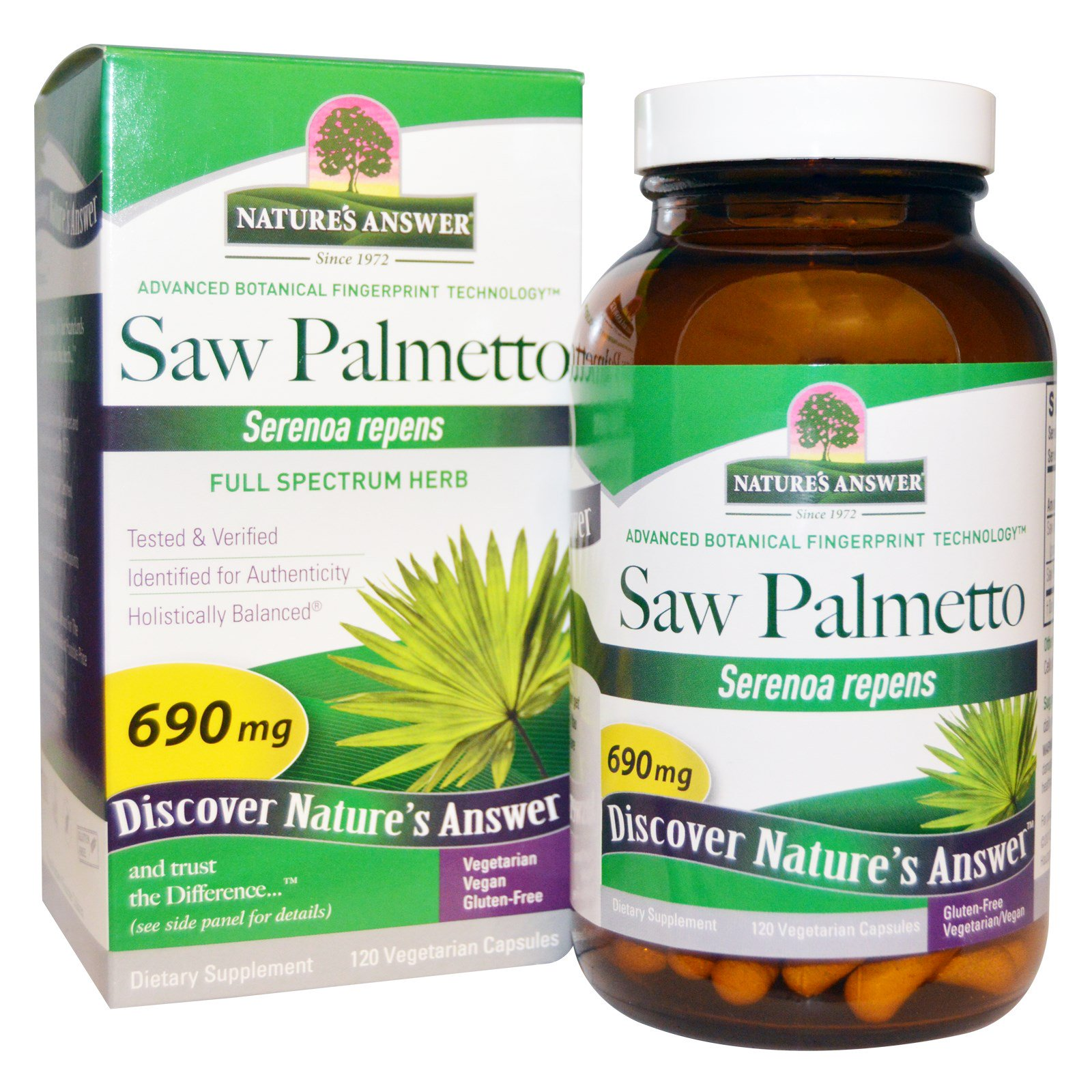 Image of Saw Palmetto, Full Spectrum Herb, 690 mg (120 Veggie Caps) - Nature's Answer 0083000164316