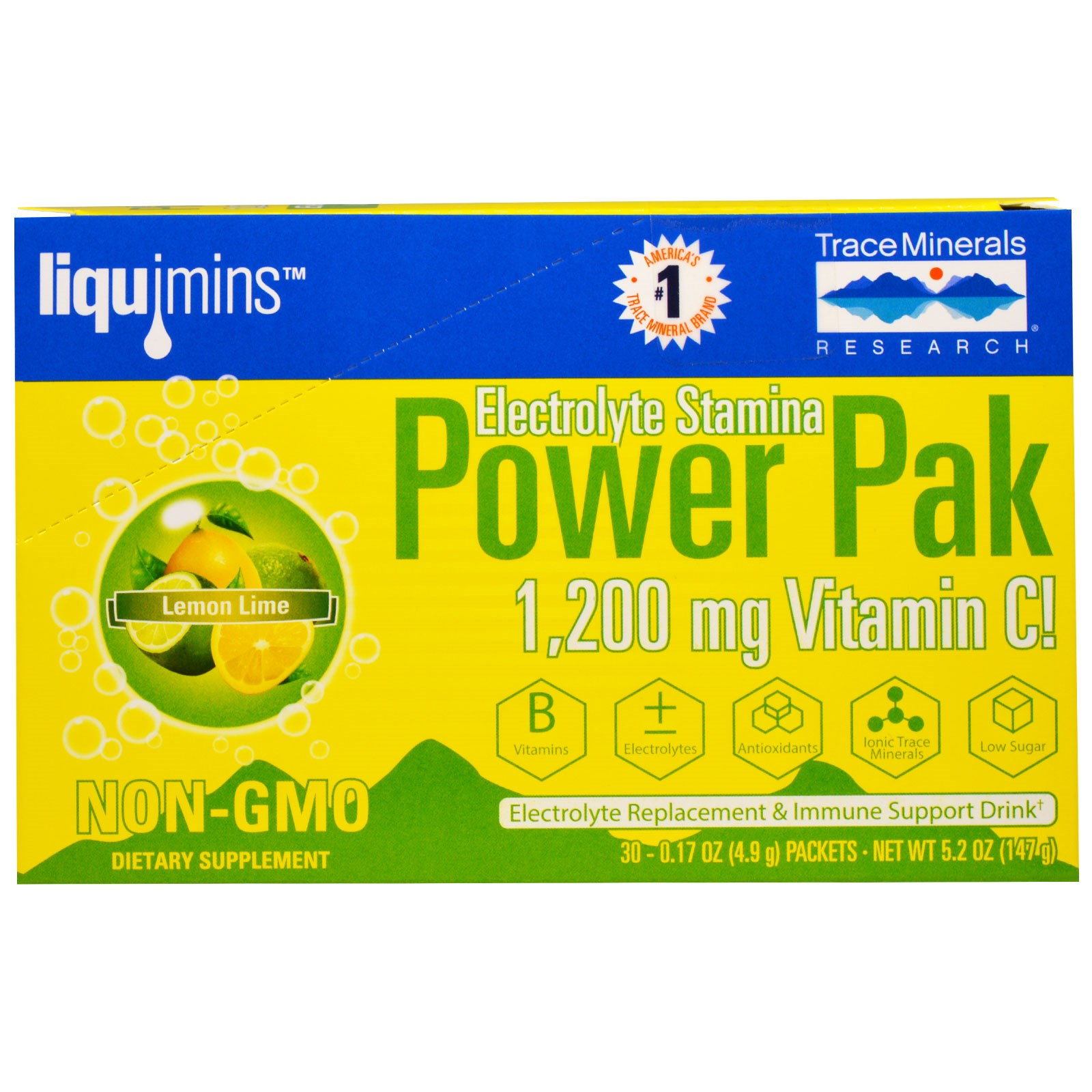 Image of Electrolyte Stamina, Power Pak, Lemon Lime (30 Packets, 4.9 g Each) - Trace Minerals Research 0878941000522