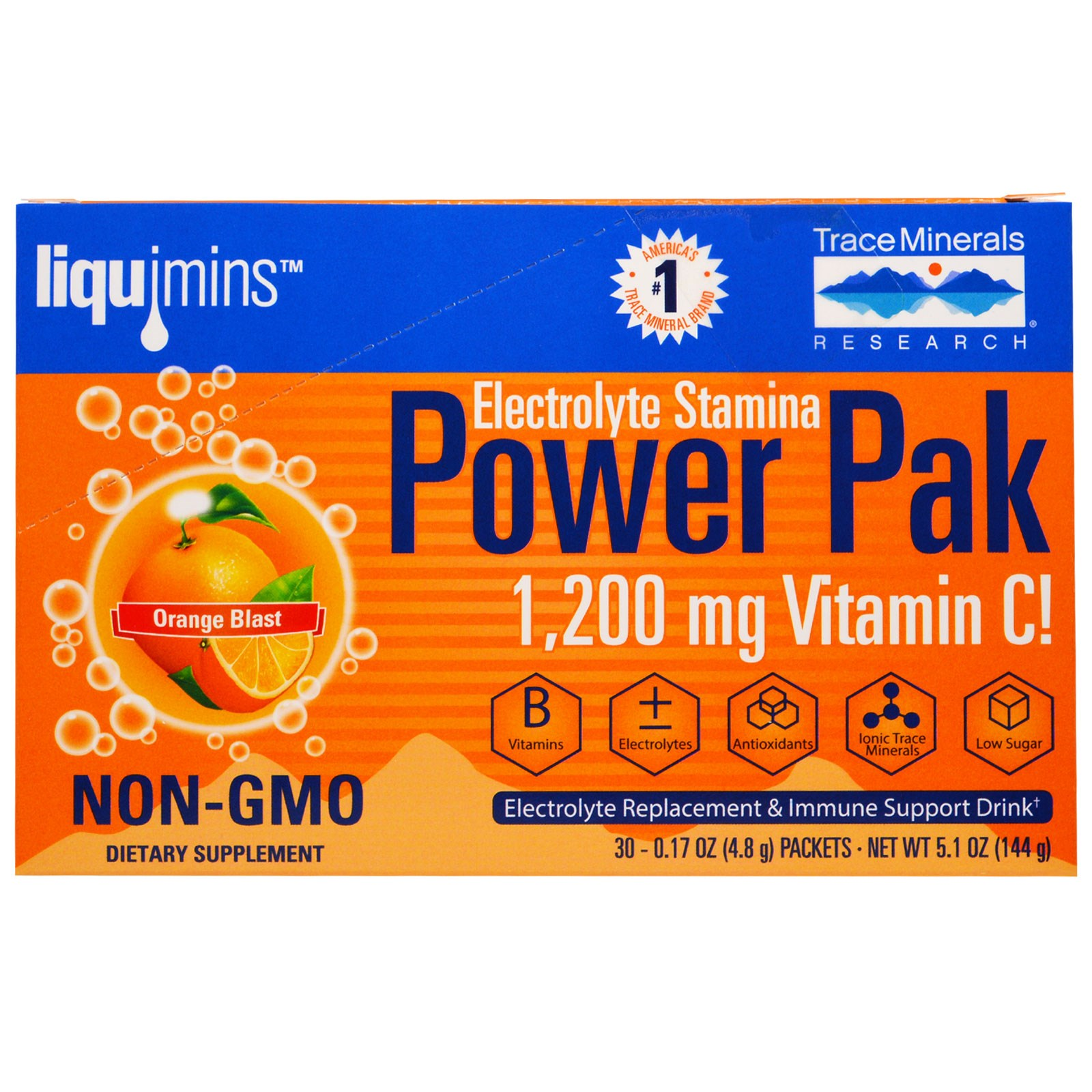 Image of Electrolyte Stamina, Power Pak, Orange Blast (30 Packets, 4.8 g Each) - Trace Minerals Research 0878941000539