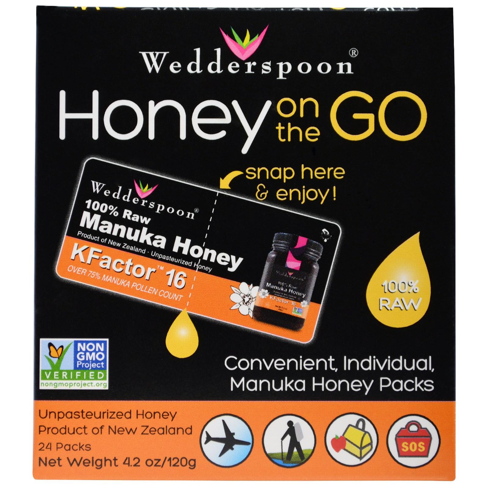 Image of Honey On The Go KFactor 16 (24 Packs, 5 g Each) - Wedderspoon Organic 0814422020313