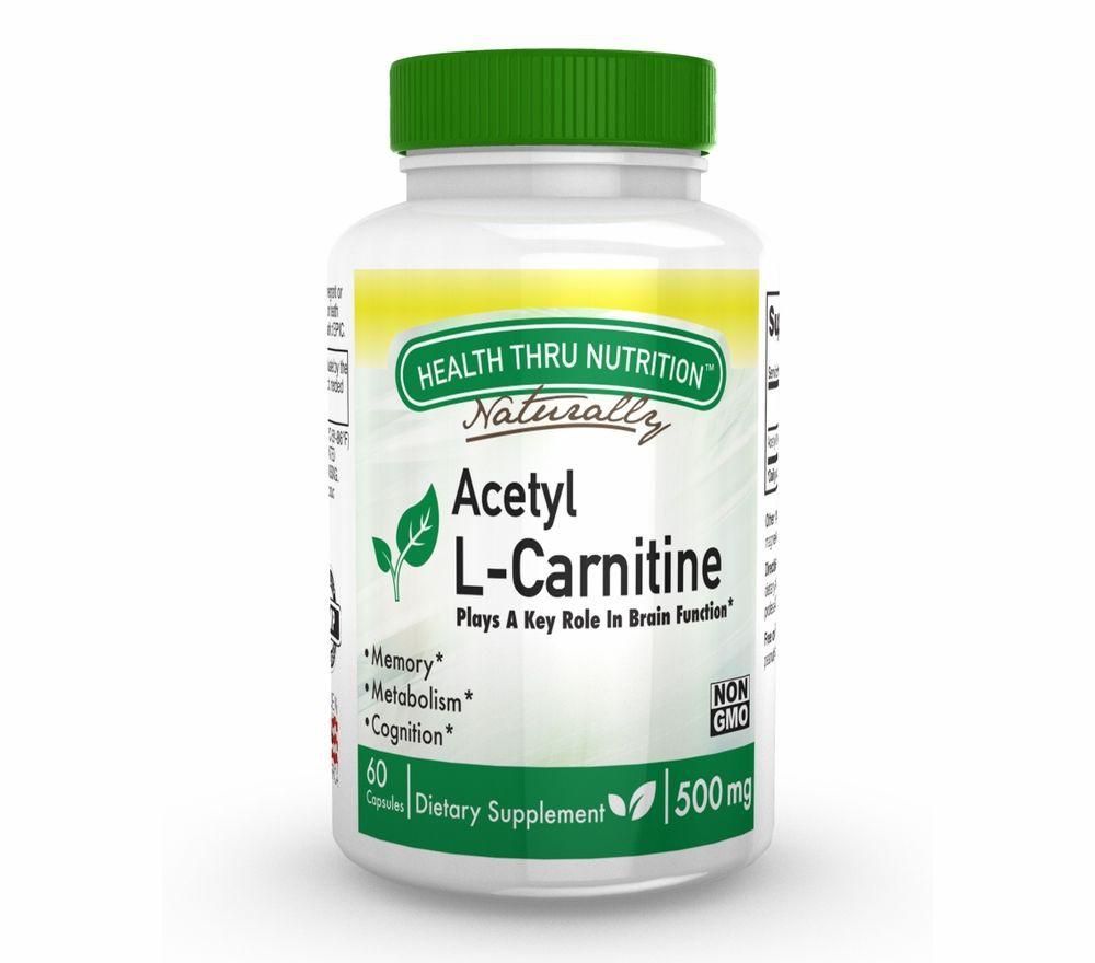 Image of Acetyl L-Carnitine 500mg (non-GMO) (60 Vegicaps) - Health Thru Nutrition 0819193020012